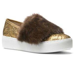 ❤️$495 Michael Kors Mink Fur Lorelai Skate Sneaker